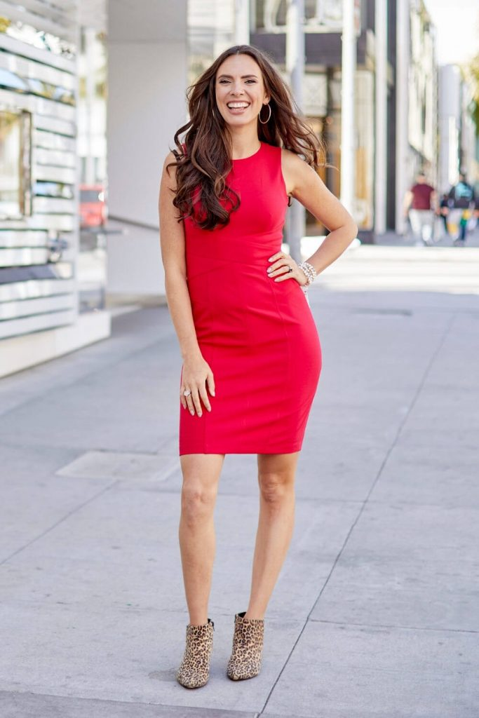 Cait in red dress